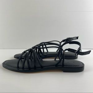 Witchery Black Sling Back Buckle Strappy Flat Leather Square Toe Sandals Size 8